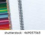 blank notebook with colored... | Shutterstock . vector #469057565