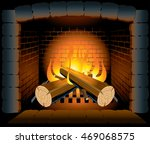 two logs burning in a hot stone ... | Shutterstock .eps vector #469068575