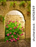 flowers in arch on the streets... | Shutterstock . vector #46906969
