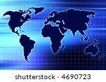 map of the world with blue grid ... | Shutterstock . vector #4690723