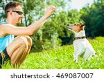 Stock photo jack russell dog with owner with food treat in hand training outside and outdoors at the park or 469087007
