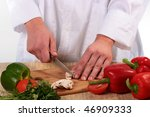 the cook the man knifes on a... | Shutterstock . vector #46909333