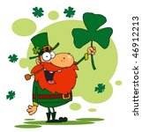 lucky leprechaun holding up a... | Shutterstock .eps vector #46912213