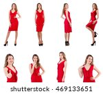 young woman in red dress... | Shutterstock . vector #469133651