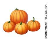 four yellow pumpkin on a white... | Shutterstock . vector #469138754