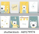 set of cute animals poster... | Shutterstock .eps vector #469179974