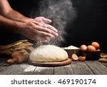 baker cooking bread. man slaps...   Shutterstock . vector #469190174