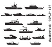 Set  Icons Of Motor Yachts And...
