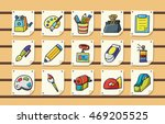 stationery and drawing icons... | Shutterstock .eps vector #469205525