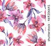 watercolor flowers seamless...   Shutterstock . vector #469206641