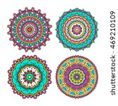 set of colorful doodle mandalas....   Shutterstock .eps vector #469210109