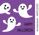 funny flying ghost. smiling and ... | Shutterstock .eps vector #469212335