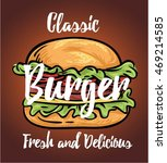 burger  poster  for fast food... | Shutterstock .eps vector #469214585