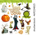 halloween 3d vector icons.... | Shutterstock .eps vector #469224815