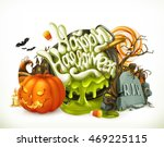 halloween 3d vector emblem. set ... | Shutterstock .eps vector #469225115