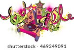 music design   turntable and... | Shutterstock .eps vector #469249091