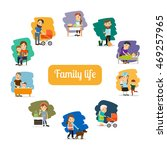family life and parents care... | Shutterstock .eps vector #469257965