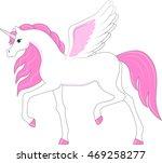 pink cartoon unicorn pegasus  | Shutterstock .eps vector #469258277