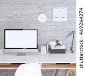 mockup monitor screen in a... | Shutterstock . vector #469264274