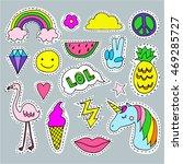 set of cartoon patch badges ... | Shutterstock .eps vector #469285727