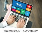 people using laptop in an... | Shutterstock . vector #469298039