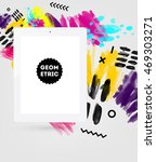 tablet pc icon with abstract... | Shutterstock .eps vector #469303271