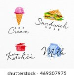 set of watercolor labels... | Shutterstock .eps vector #469307975