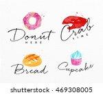 set of watercolor labels...   Shutterstock .eps vector #469308005