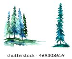 Watercolor Trees  Forest  Pine...
