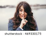 cute woman with long black hair ... | Shutterstock . vector #469330175