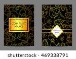vector golden floral business...   Shutterstock .eps vector #469338791