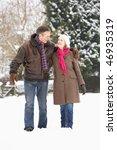 Senior Couple Walking In Snowy...