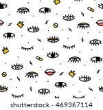 Stock vector seamless pattern in the style of psychedelic eyes with his lips pattern for fashion with eyes the 469367114