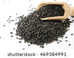 black sesame and wood spoon on... | Shutterstock . vector #469384991