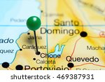 Small photo of Chone pinned on a map of Ecuador
