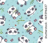 vector cartoon style cute panda ... | Shutterstock .eps vector #469396637