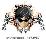 girl with headphones on grunge... | Shutterstock .eps vector #4693987