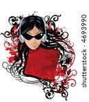 girl with headphones on grunge... | Shutterstock .eps vector #4693990