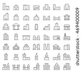 building icon set in thin line... | Shutterstock . vector #469400009