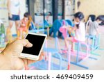 man use mobile phone  blur... | Shutterstock . vector #469409459