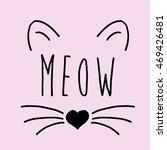 Stock vector cat on a pink background cat print cat graphic cat illustration cat design cat graphic cat 469426481