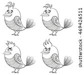 set of funny birds of different ...