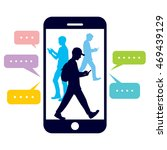 walking people with a mobile... | Shutterstock .eps vector #469439129