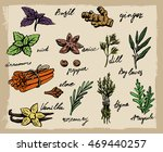 set of spices and herbs vector...   Shutterstock .eps vector #469440257