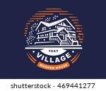logo wooden house on dark... | Shutterstock .eps vector #469441277