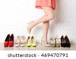 woman choosing shoes on high... | Shutterstock . vector #469470791