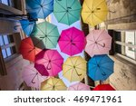 street decorated with colored... | Shutterstock . vector #469471961