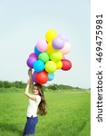 happy woman with colorful... | Shutterstock . vector #469475981