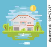 flat house with garden and lake.... | Shutterstock .eps vector #469478087