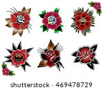 traditional tattoo flowers set... | Shutterstock .eps vector #469478729